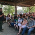 Norm McDonald, incident commander for the Alaska Type 2 Green Incident Management Team, addresses a crowd of about 180 people at a community meeting regarding the Shovel Creek Fire at the Ken Kunkel Community Center on Wednesday night, June 26, 2019. Photo by Tim Mowry/Alaska Division of Forestry
