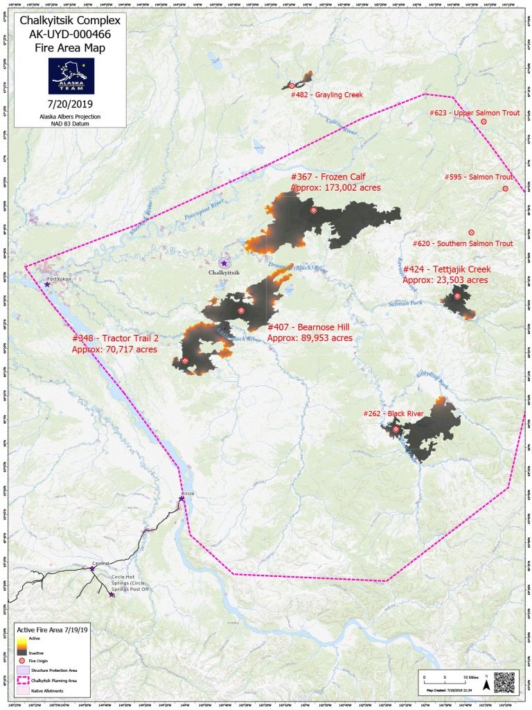 A fire area map for Saturday, July 20, of the fires in the Chalkyitsik Complex.