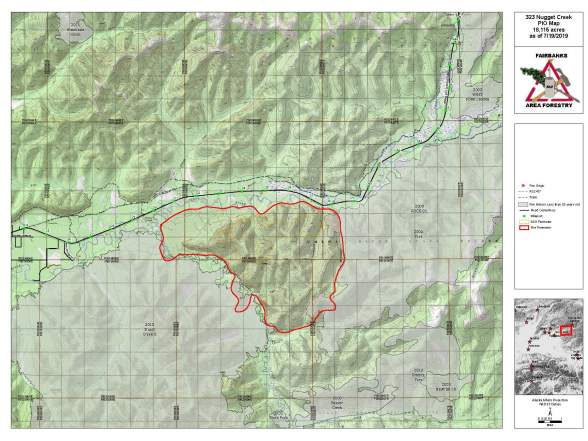 Nugget Creek Fire as of July 19, 2019.   Download a PDF map here.