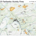 A map showing the locations and sizes of wildfires currently burning in the Division of Forestry's Fairbanks Area For a downloadable PDF map go to .
