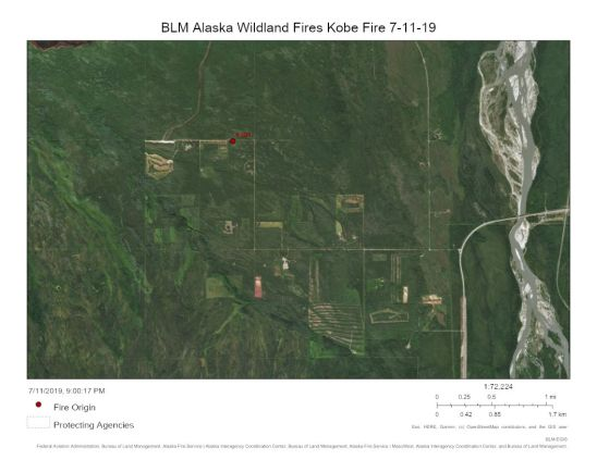 Map of Kobe Fire near Anderson on July 11, 2019.