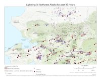 Map of lightning and fires in Northwest Alaska. The purple and red arrows are lightning strikes in the last 36 hours. The fire numbers in the 500 and above range are new starts.