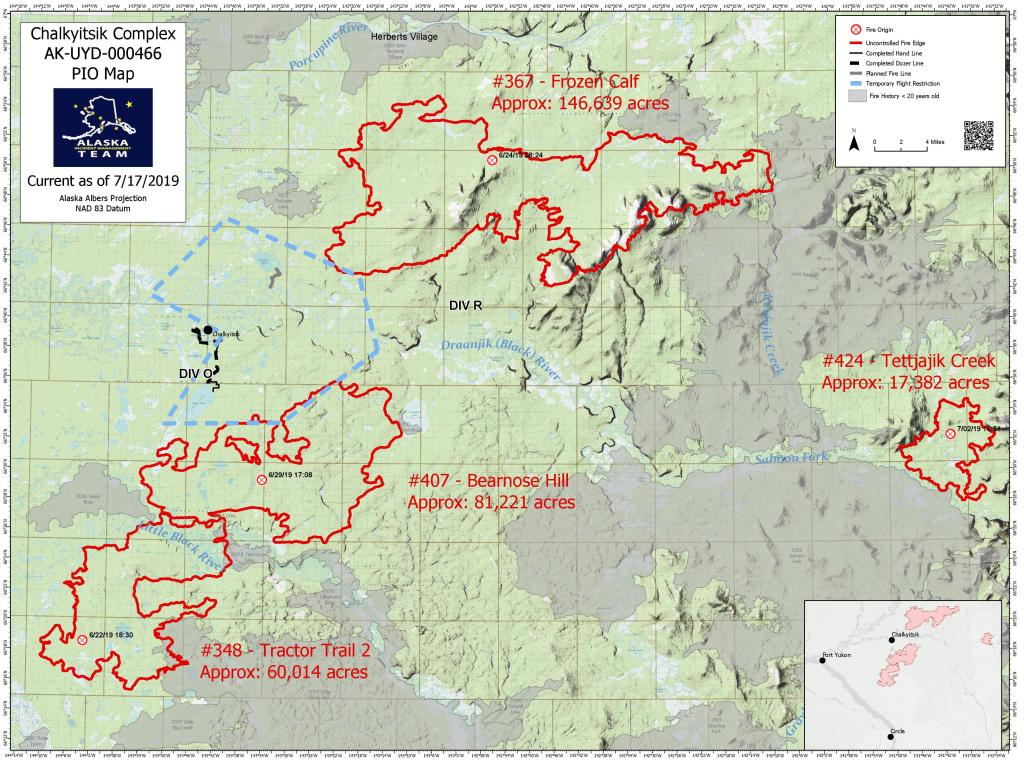 Map of the Chalkyitsik Complex fires, July 17, 2019. For a pdf version of the map, click here.