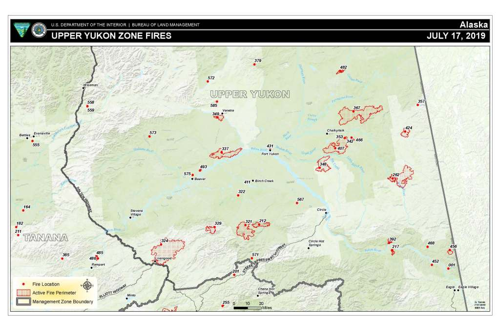 Map of fires currently burning in the Upper Yukon Zone, July 17, 2019. For a pdf of the map, click here.