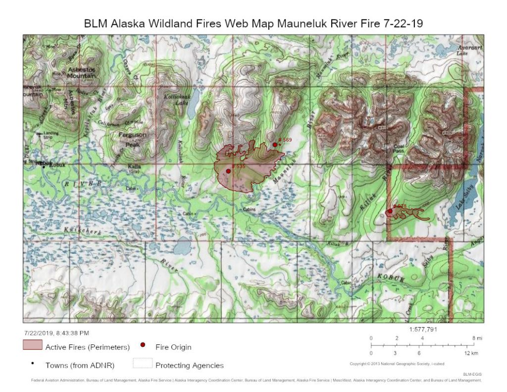 Map of the Mauneluk River Fire on July 22, 2019