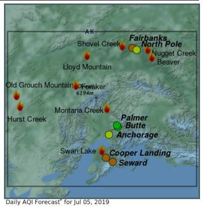 Smoke map showing location of fires in Alaska.