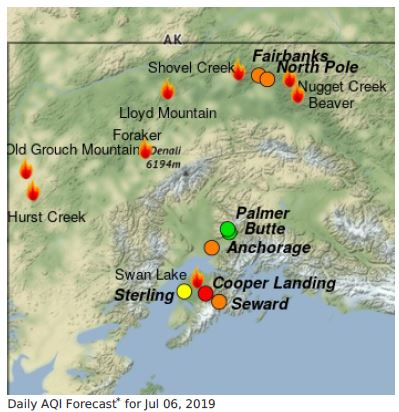 Map showing fires and communities in Alaska for 7-6.