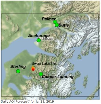 Map shows Swan Lake Fire southwest of Anchorage, with good air quality in all surrounding communities on the Kenai Peninsula and north of Anchorage.