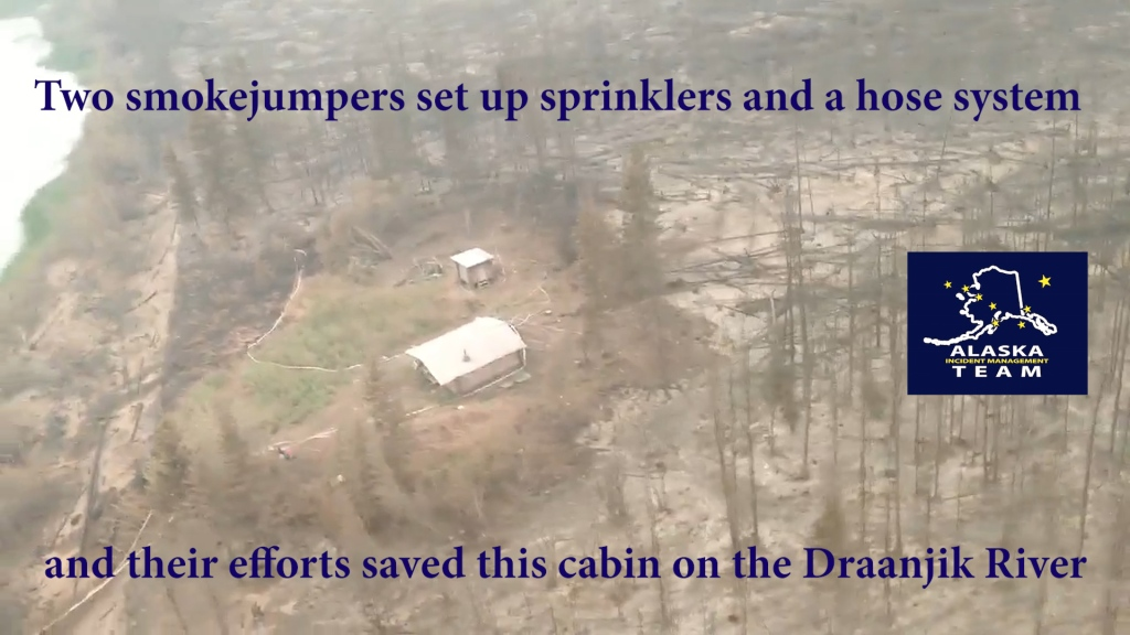 Aerial Fireline Video: Cabin Saved by Smokejumpers on the Draanjik River in the Chalkyitsik Complex