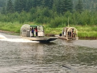 Air boats on river