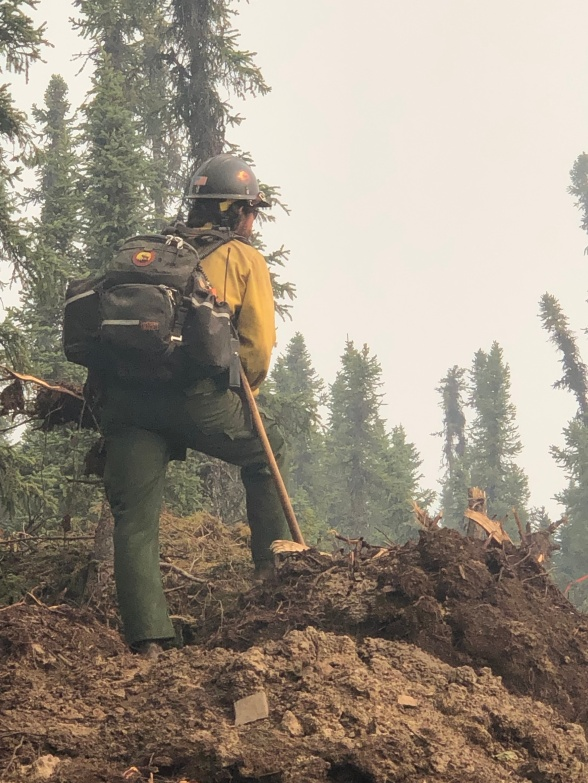 Keeping eyes on the green following the strategic burning operation north of Perfect Perch.  Photo Credit: Kale Casey/PNW2/DNR Alaska Division of Forestry