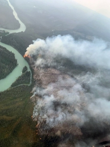 A photo of the Klutina River Fire taken on Monday during the initial attack shows the location of the fire in proximity to the Klutina River. Photo by Brandon Kobayashi/Alaska Smokejumpers