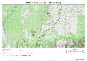A map showing the location and perimeter of the 1,041-acre Kobe Fire south of the town of Anderson.