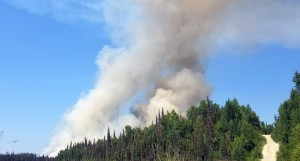 Smoke billows up from the Malaspina Fire in this picture taken from South Malaspina Loop on Sunday, July 7, 2019. Photo by Stephanie Bishop/Alaska Division of Forestry