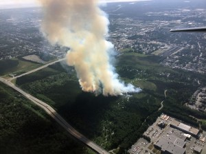 Smoke rises from a wildfire in East Anchorage on Tuesday afternoon, July 2, 2019. Photo by Jason Jordet/Alaska Division of Forestry
