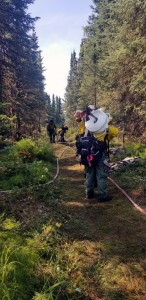 Firefighters from the Alaska Division of Forestry haul hose and other supplies down a trail to access and mop up the M.L.K. Fire in East Anchorage on Wednesday, July 3, 2019. Photo by Stephanie Bishop/Alaska Division of Forestry
