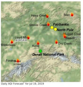 Map of fires burning in the greater Fairbanks area including Denali National Park. July 19, 2019.