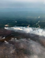 The east side of the Nugget Creek Fire backing north toward the Chena River as seen on Sunday, June 30. Photo by Omar Sutherland/Alaska Division of Forestry
