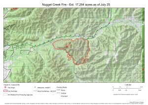 A map showing the perimeter of the Nugget Creek Fire (#323) burning along Chena Hot Springs Road in the Chena River State Recreation Area east of Fairbanks. For a downloadable PDF version of the map go to