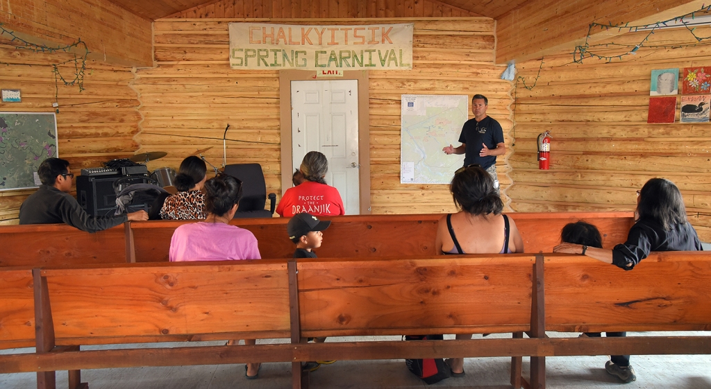 Photo showing Alaska Interagency Incident Management Team Deputy Incident Commander Ed Sanford leading a community meeting Monday morning, July 15, 2019, in the village of Chalkyitsik. Many of the residents attend the morning operational briefings given each day for firefighters in the field. Photo by Sam Harrel/Alaska Interagency Incident Management Team