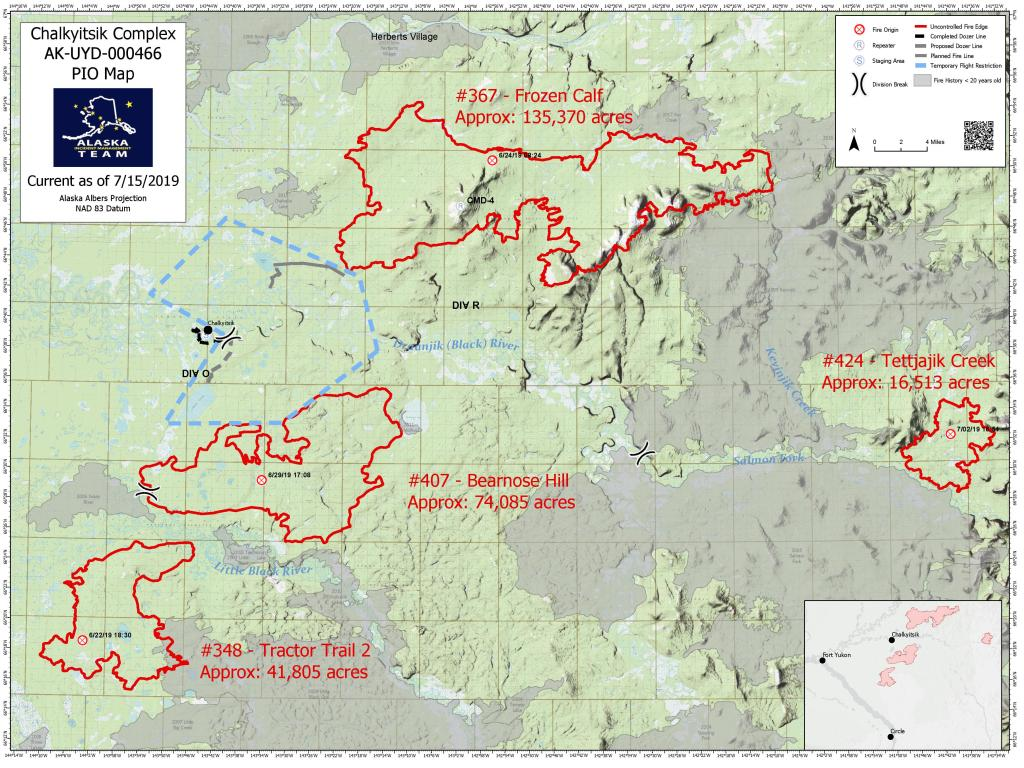 7/15/19 fire map of the Chalkyitsik Complex buring in the Upper Yukon Zone. There are four fires burning as part of the overall complex. Map show red outlines of each individual fire.