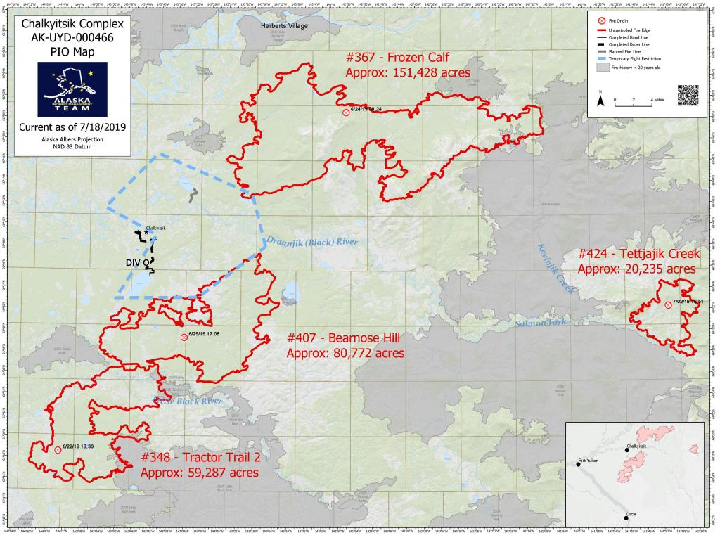 Map of the Chalkyitsik Complex fires, July 18, 2019. For a pdf version is available for download