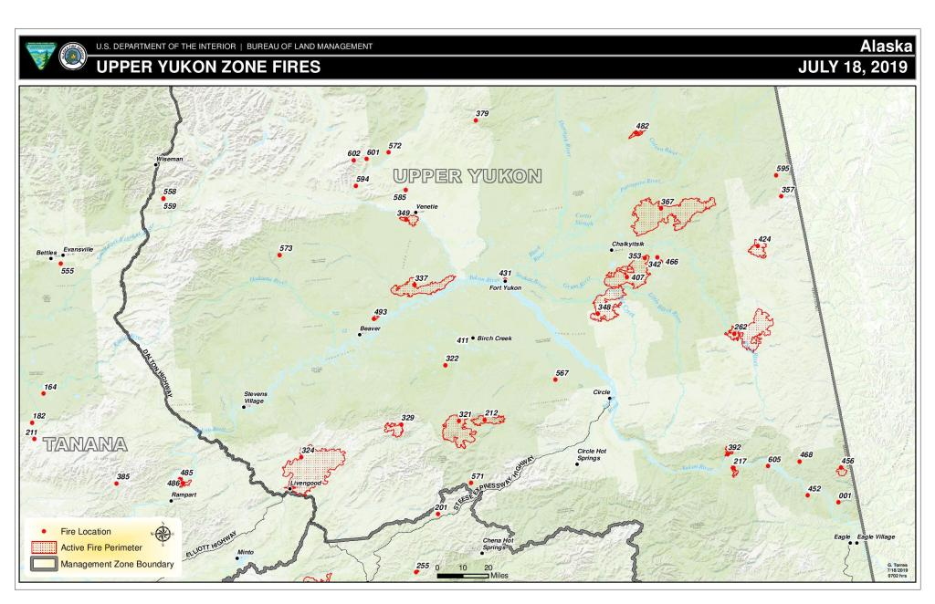 Photo is map of fires burning in the Upper Yukon Zone, July 18, 2019,  A link to download a pdf version of the map is available.