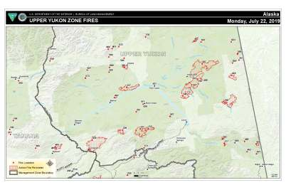 Map for July 22, 2019, for fires in the Upper Yukon Zone. For a pdf version of the map, click here.