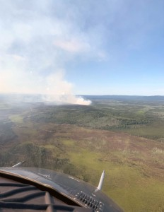 The Rainbow 2 Fire about 15 miles west of Delta Junction as seen at around 3 p.m. on Friday, July 5, 2019. Photo by Mike Goyette/Alaska Division of Forestry