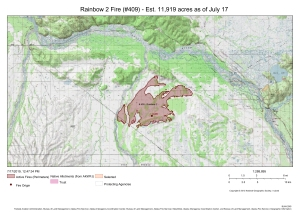 A map showing the perimeter of the Rainbow 2 Fire about 15 miles northwest of Delta Junction. For a downloadable PDF version of the map go to