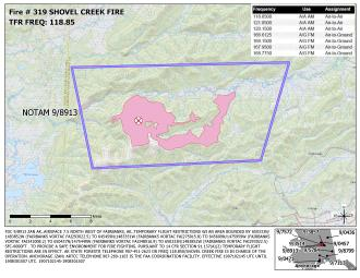 Example of a recent Temporary Flight Restriction (TFR) on the Shovel Creek Fire.