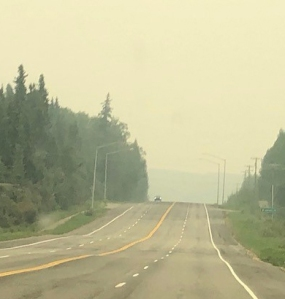 Wildfire smoke as seen from Mile 2 Chena Hot Springs Road on Sunday, July 7, 2019. Photo by Meg Cicciarella/Alaska Division of Forestry