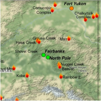 Map shows multiple active fires and shows that air quality is good  in Fairbanks and North Pole, but poor in Fort Yukon.