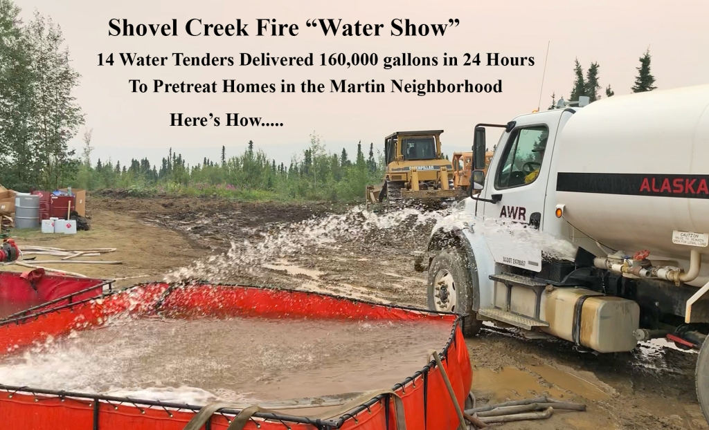 Private homes in the Martin neighborhood over the last 24 hours were treated with over 160,000 gallons of water. Photo credit: Kale Casey/PNW2/BLM Alaska Fire Service