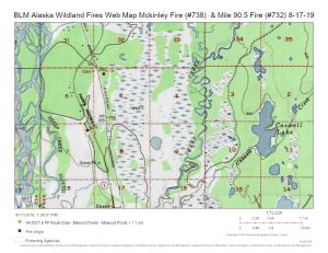 Map of the Mckinley Fire (#738) to the north and the Mile 90.5 Fire burning north of Sheep Creek near milepost 90 of the Parks Highway.