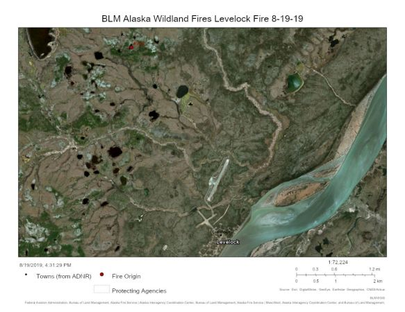 Map of the Levelock Fire (#752) Fire burning outside the remote Bristol Bay village its named after.