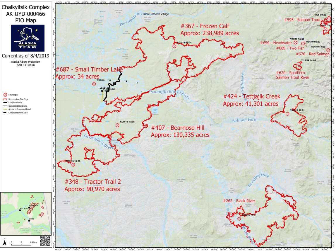 Chalkyitsik Complex Fire Map August 4th 2019