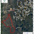 This map shows the perimeter and location of the 2, 217-acre Deshka Landing Fire in relation to homes and cabins to the east of the fire.
