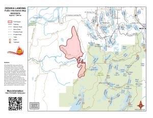 A perimeter map of the 1,543-acre Deshka Landing Fire as of Aug. 22, 2019. For a downloadable PDF map, go to