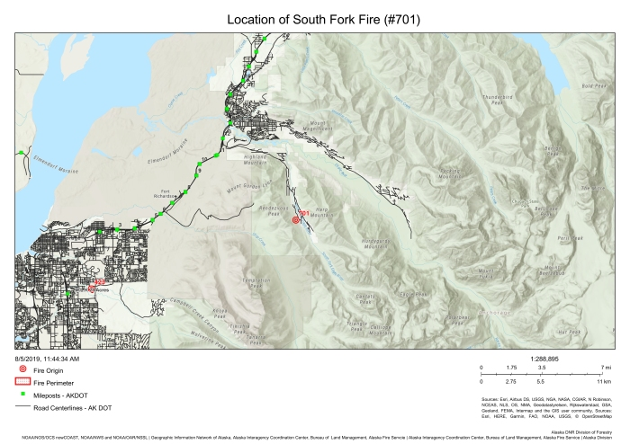Location of South Fork Fire (#701)