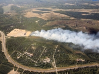 An aerial photo of the McKinley Fire burning near Mile 91 east of the Parks Highway. Photo by Tim Whitesell/Alaska Division of Forestry