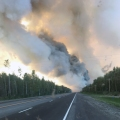 A smoke plume from the McKinley Fire burning along the Parks Highway seen from the highway on Sunday. Photo by Maureen Clark/Alaska Division of Forestry