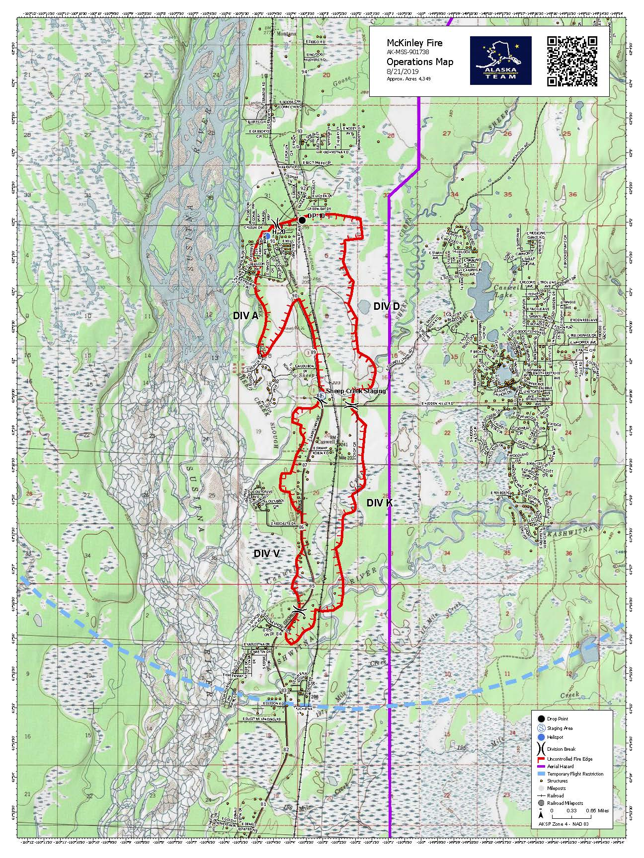 Approximate Fire Perimeter Map for August 21, 2019