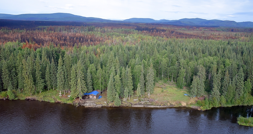 The Tettjajik Creek Fire (#424) burned near cabins on the Salmon Fork of the Black River as seen in this Tuesday, Aug. 6, 2019, aerial photograph. Sam Harrel/Alaska Interagency Incident Management Team