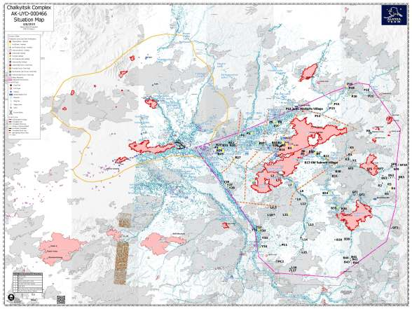 Fire Map for All Fires in the Upper Yukon Area August 8-11 2019