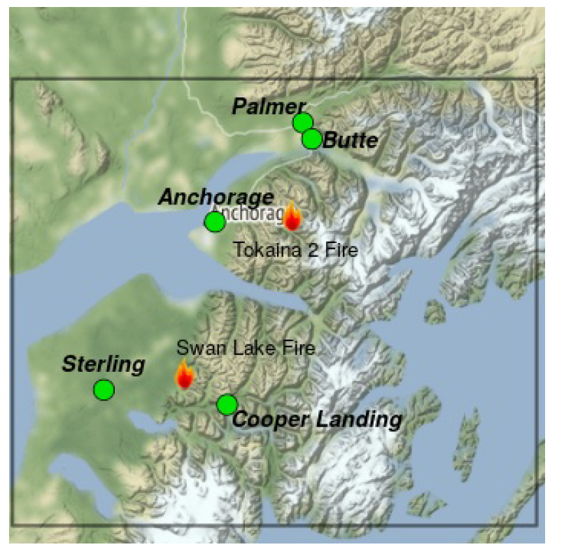 Map shows good air quality in communities of Sterling, Cooper Landing, Anchorage, Butte, and Palmer surrounding the active Swan Lake and Tokaina 2 fires.