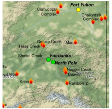 Map shows multiple active fires in Interior Alaska and shows that air quality is good in Fairbanks and North Pole, but moderate in Fort Yukon.