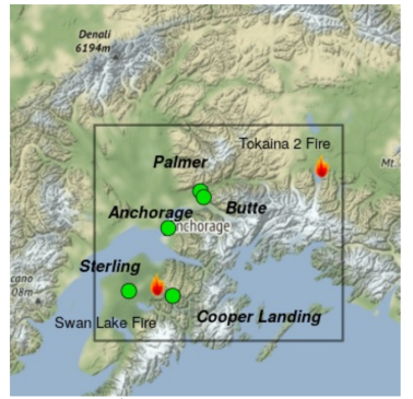 Map shows two fires burning, but good air quality for all communities in Southcentral Alaska.