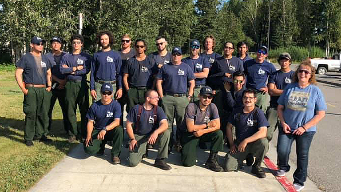 Tanana Chiefs Conference Initial Attack Type 2 Fire Crew Photo with Jacqueline C Martin Deputy director fire operations for the BIA July 22, 2019