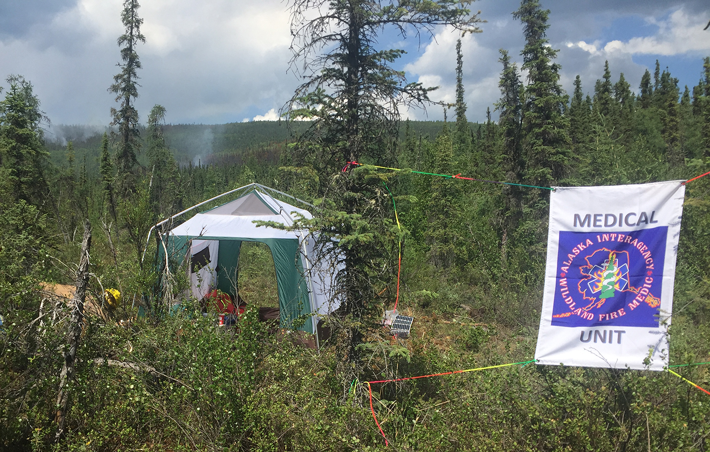 Photo of a Fire Medic Tent on the Caribou Creek Fire in Two Rivers, Alaska on June 20, 2019.